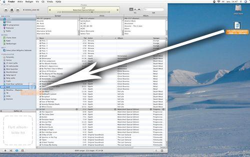 I Itunes kan du dra podkasten rett inn i Ipod-mappa.