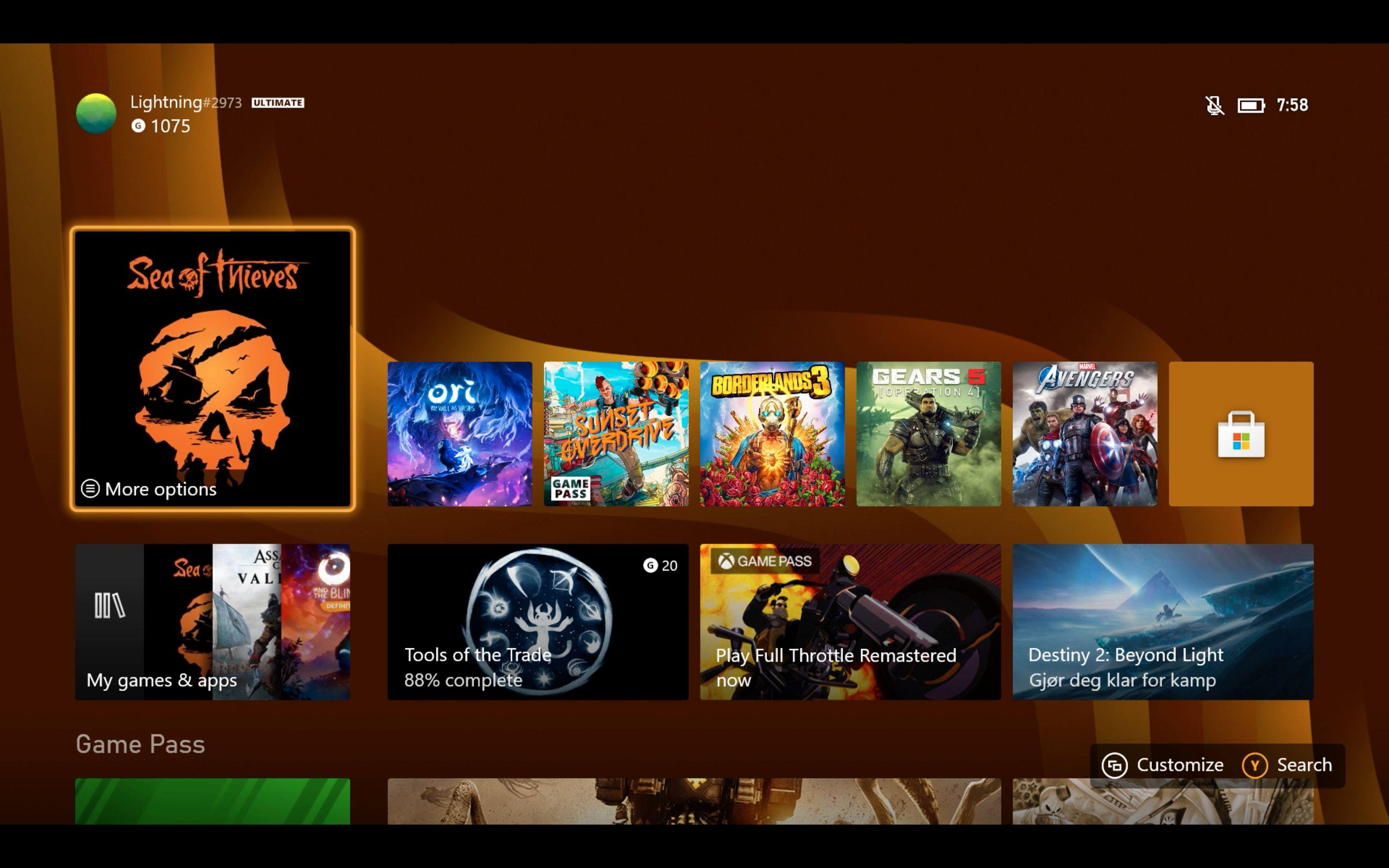 Menyene er mer eller mindre identiske med de du finner på Xbox One.