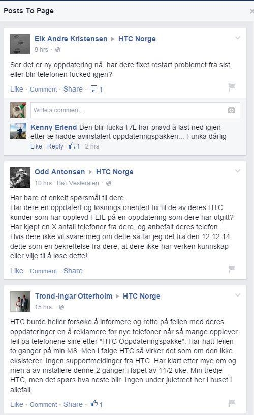 Noen av tilbakemeldingene fra HTC-brukere.Foto: Skjermdump: Facebook