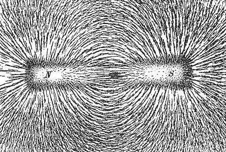 En visualisering av et magnetfelt.