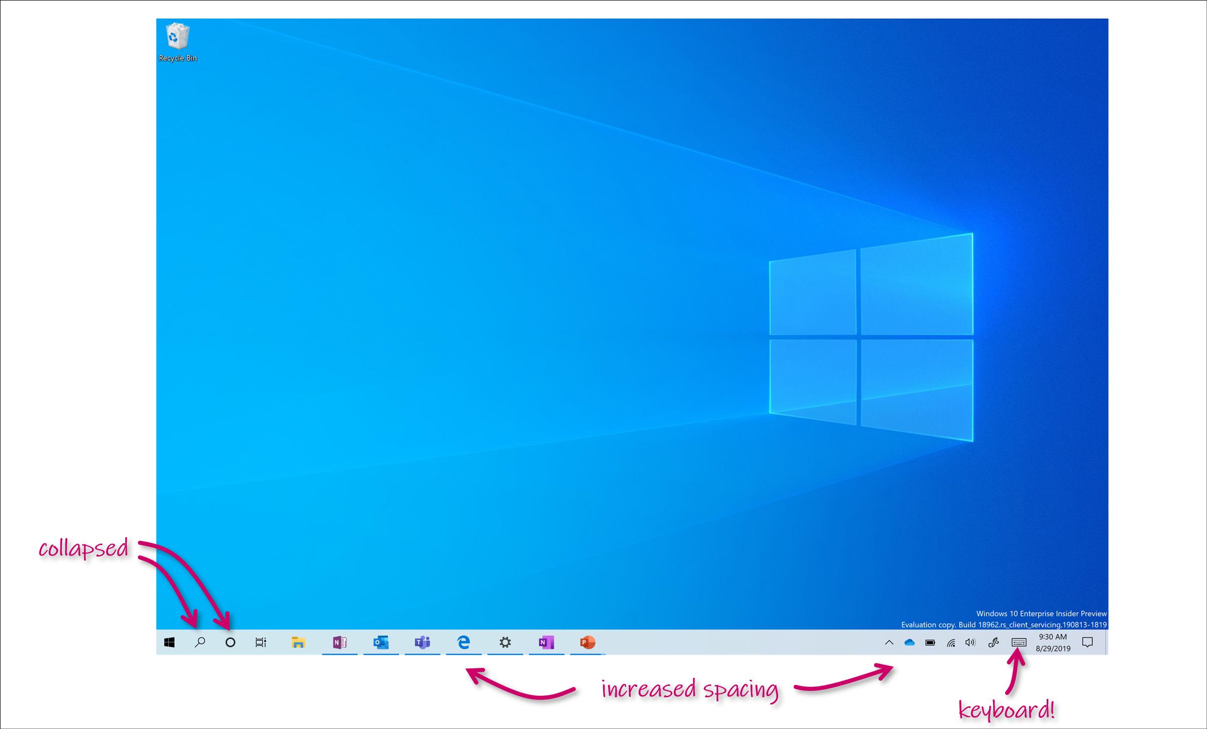Microsoft gjør små endringer i den touchoptimerte versjonen av Windows 10.
