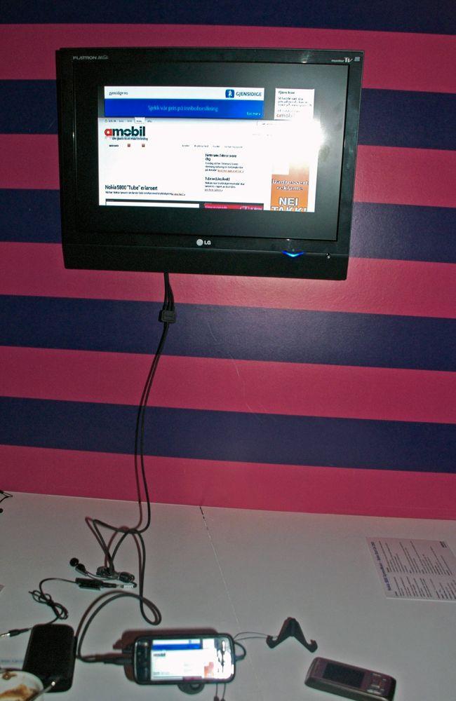 Nettleser satt opp på ordinær TV-skjerm.