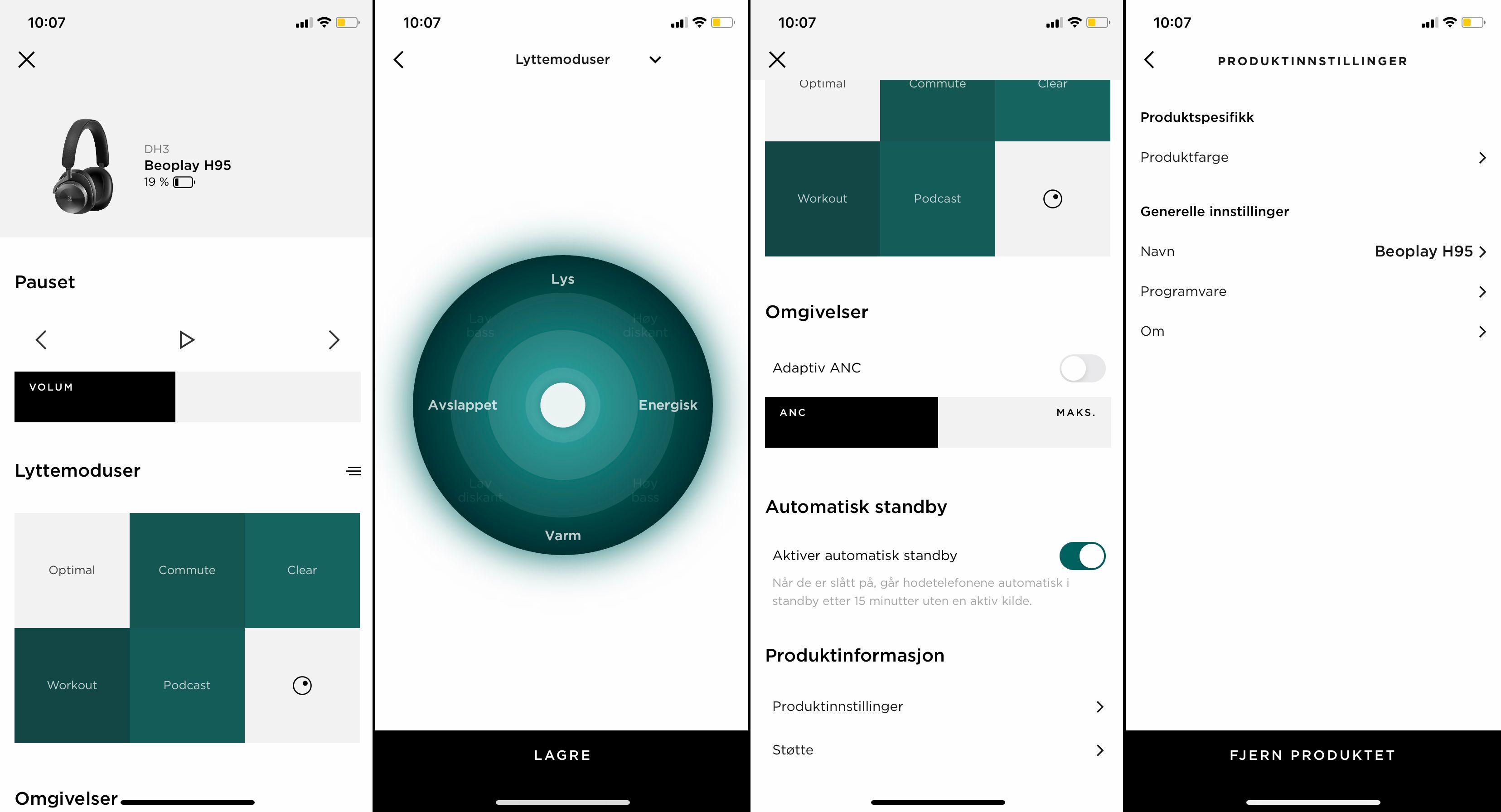 Bang & Olufsen-appen viser tydelig at det ikke er all verdens av funksjonalitet å hente i H95. Den er i det minste veldig enkel å bruke.