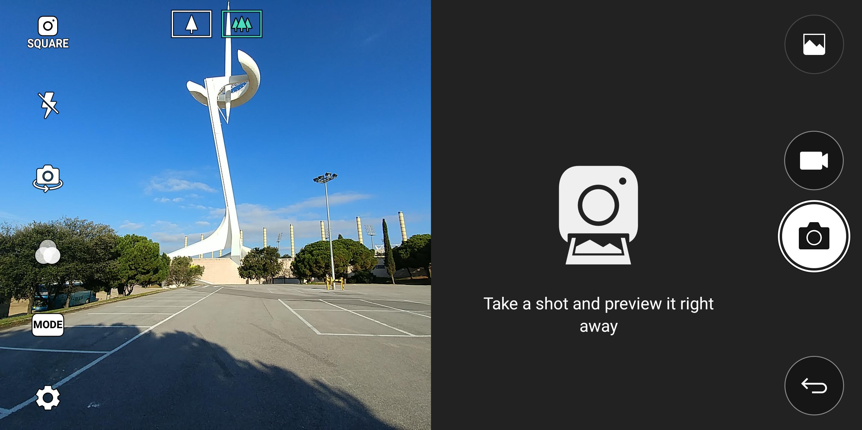 Mange av mobilens apper er tilpasset det nye formatet. En firkantkameraløsning lar deg ta kvadratbilder som passer perfekt på Instagram og liknende tjenester, samtidig som du har andre valgmuligheter på resten av skjermen. Litt gimmicky er det, men også ting som en spesialtilpasset Gmail-app hører til.