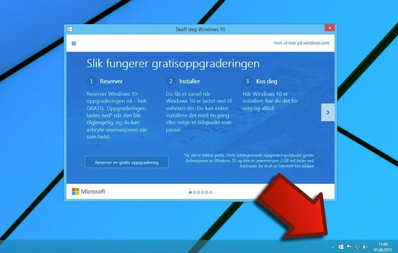Slik kan du reservere en oppgradering til Windows 10. Foto: Skjermdump/Teknofil.no/montasje