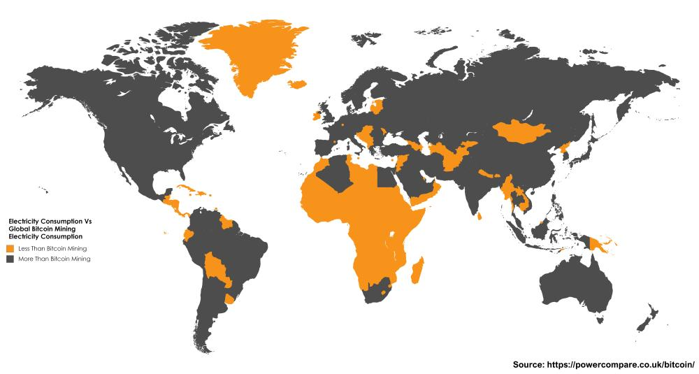 Landene i oransje bruker mindre elektrisitet enn Bitcoin. Bilde: Powercompare.co.uk
