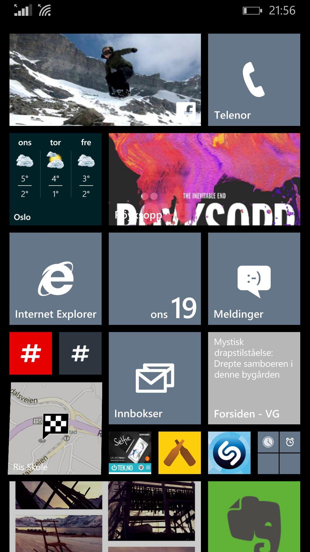 GENIAL STARTSKJERM: Windows Phones løsning med live-fliser gir den smarteste og mest personlige startskjermen jeg har brukt til dags dato. Forhåpentligvis tar flere apper i bruk mulighetene her fremover. Foto: Øystein W. Høie