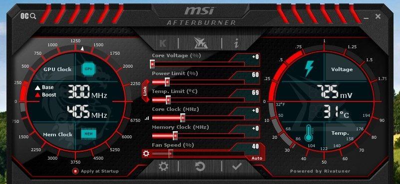 I MSI AfterBurner kan du redusere ytelsen til grafikkortet og spare energi, varme og støy, samt faktisk hjelpe gamle spill med å kjøre mer korrekt.