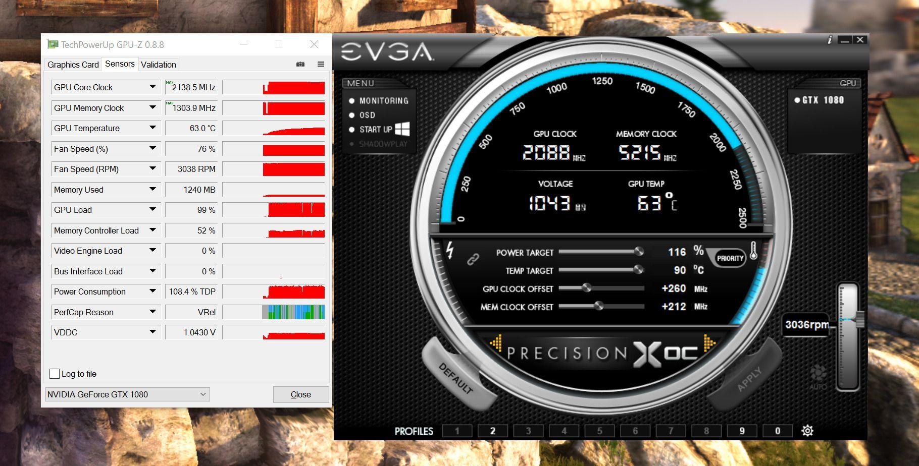 Her benytter vi monitoreringsverktøyet GPU-Z og overklokkingsverktøyet PrecisionX OC fra EVGA for å presse de siste skjulte kreftene ut av vårt GTX 1080. I bakgrunn kjører måleverktøyet HeavenBenchmark, som kontrollerer at grafikkortet vårt klarer å regne riktig selv under høyt press.