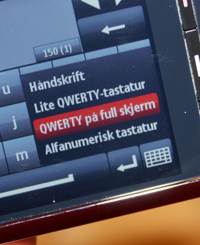 Du kan også velge andre tastaturtyper...