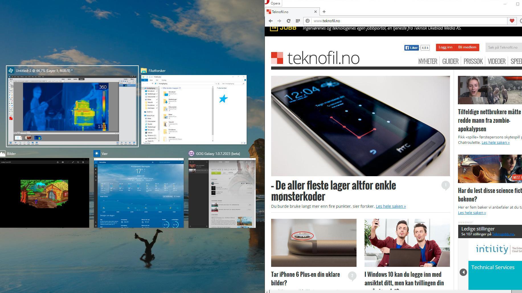 «Snapping» har blitt mye bedre i Windows 10