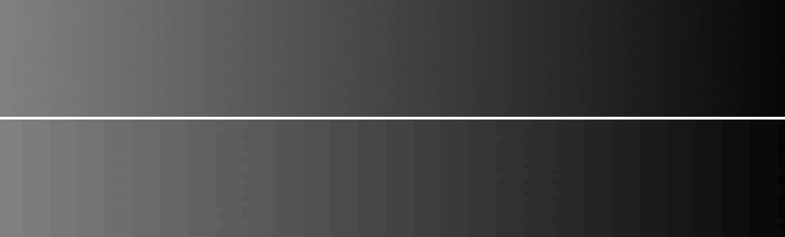Den øverste stripen viser hvordan en vanlig gråskala skal se ut, mens den nederste illustrerer hvordan skalaen ser ut når videoen komprimeres.