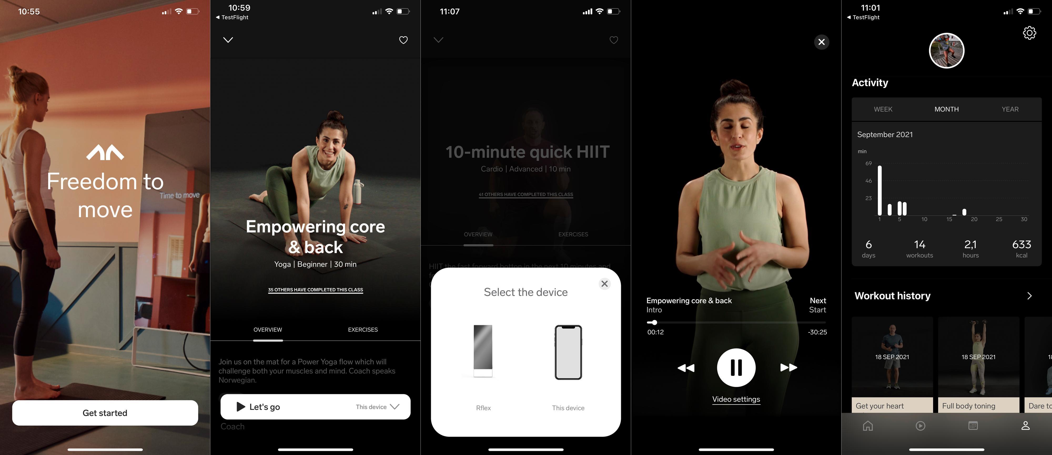 Fra Mentra-appen kan du sette i gang treningsøkter, enten det er på telefon/brett eller på speilet. Her får du også oversikt over treningsøktene dine.