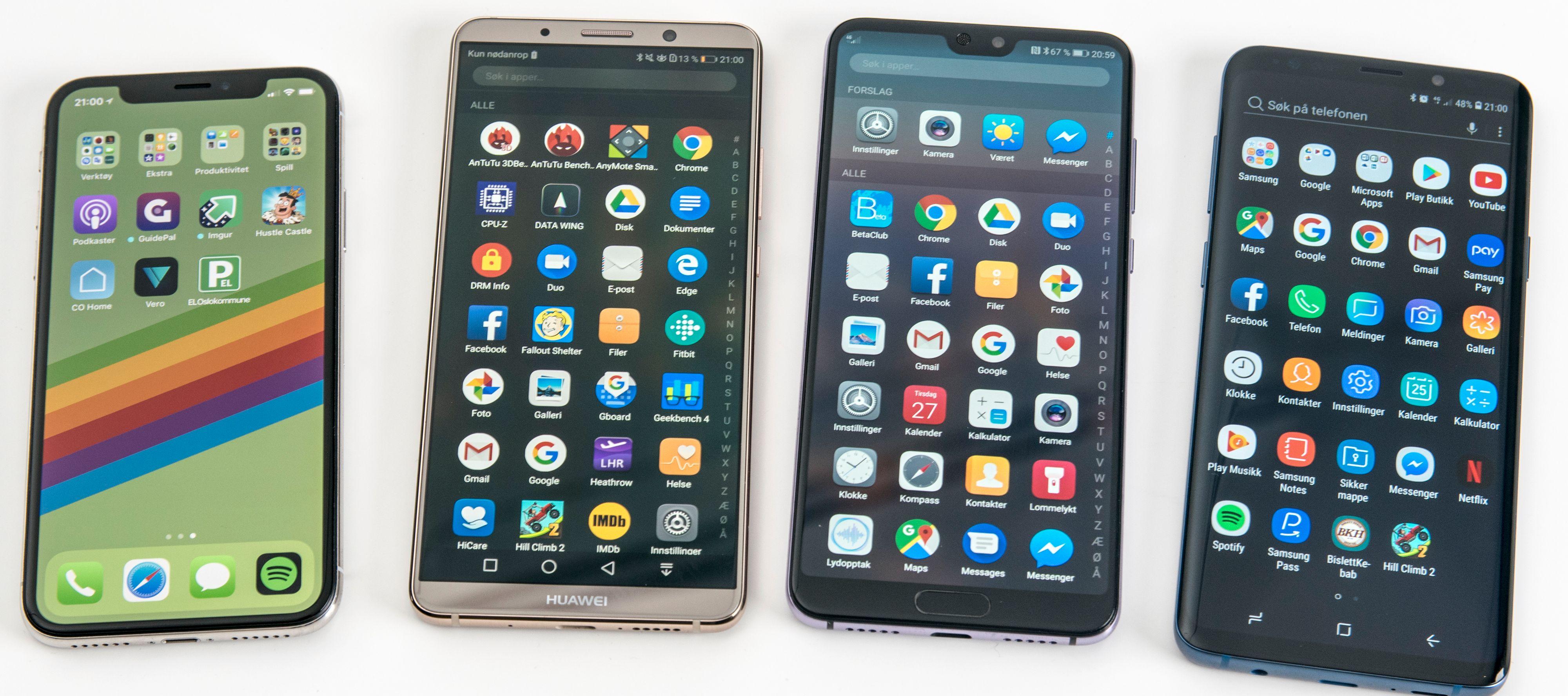 Mate 10 Pro, nummer to fra venstre, er allerede en av favorittmobilene våre fra i fjor. Kan P20 Pro overgå den lynraske evighetsmaskinen som veldig sjelden må lades? Ytterst til venstre iPhone X og ytterst til høyre Galaxy S9+.