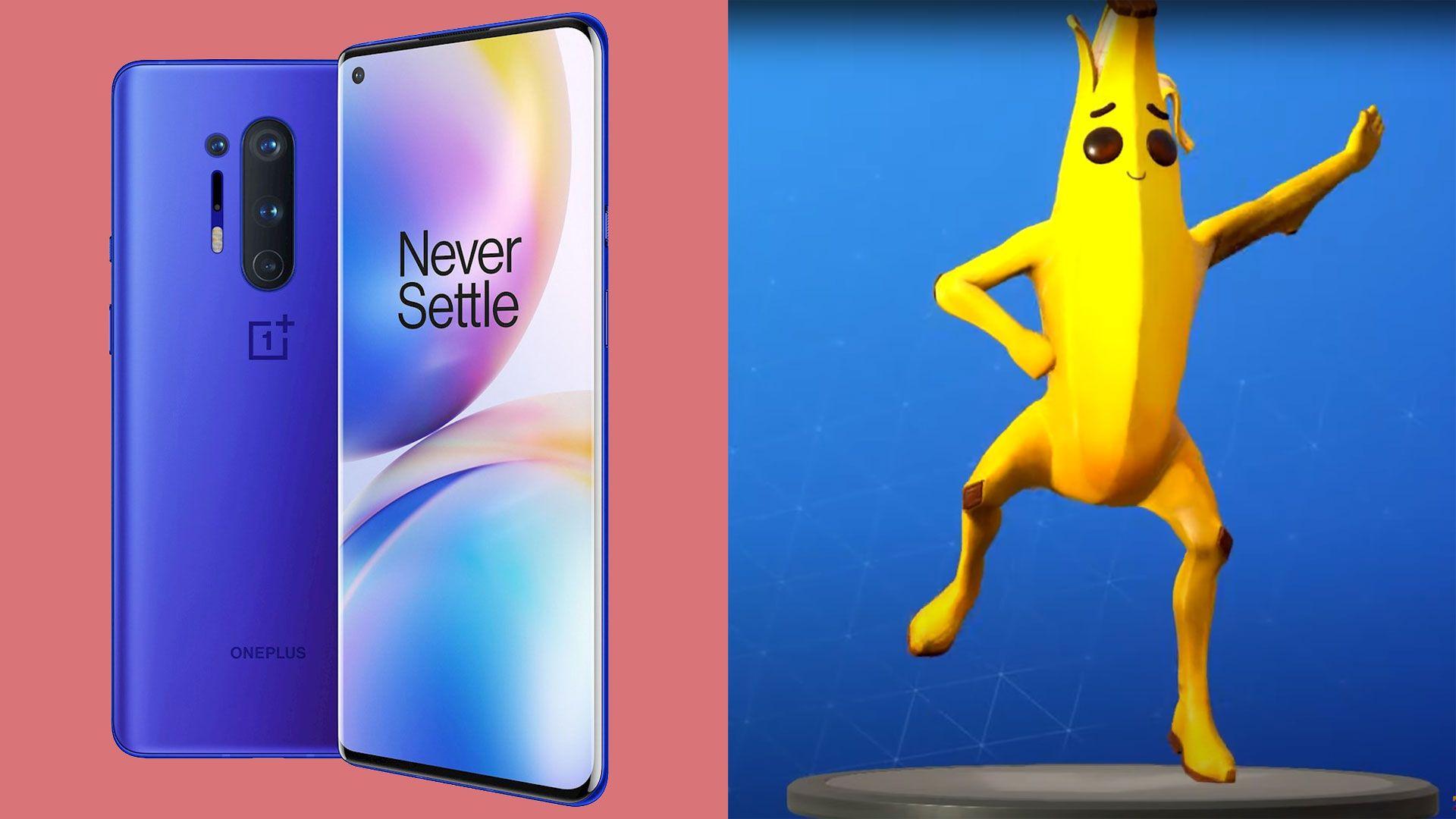 Slik ser dansen ut. OnePlus 8 til venstre, dansende banan til høyre.