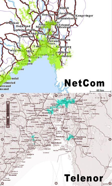 4G-dekning i Oslo-området hos NetCom og Telenor, ifølge deres egne dekningskart. Faktisk dekning kan variere mye fra sted til sted, og avhengig av om du er innendørs eller utendørs.