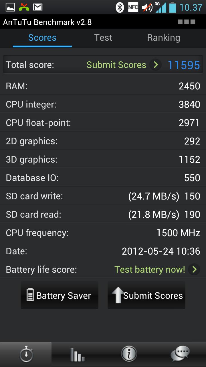 In AnTuTu scorer Optimus 4X litt bedre enn både S III og One X.
