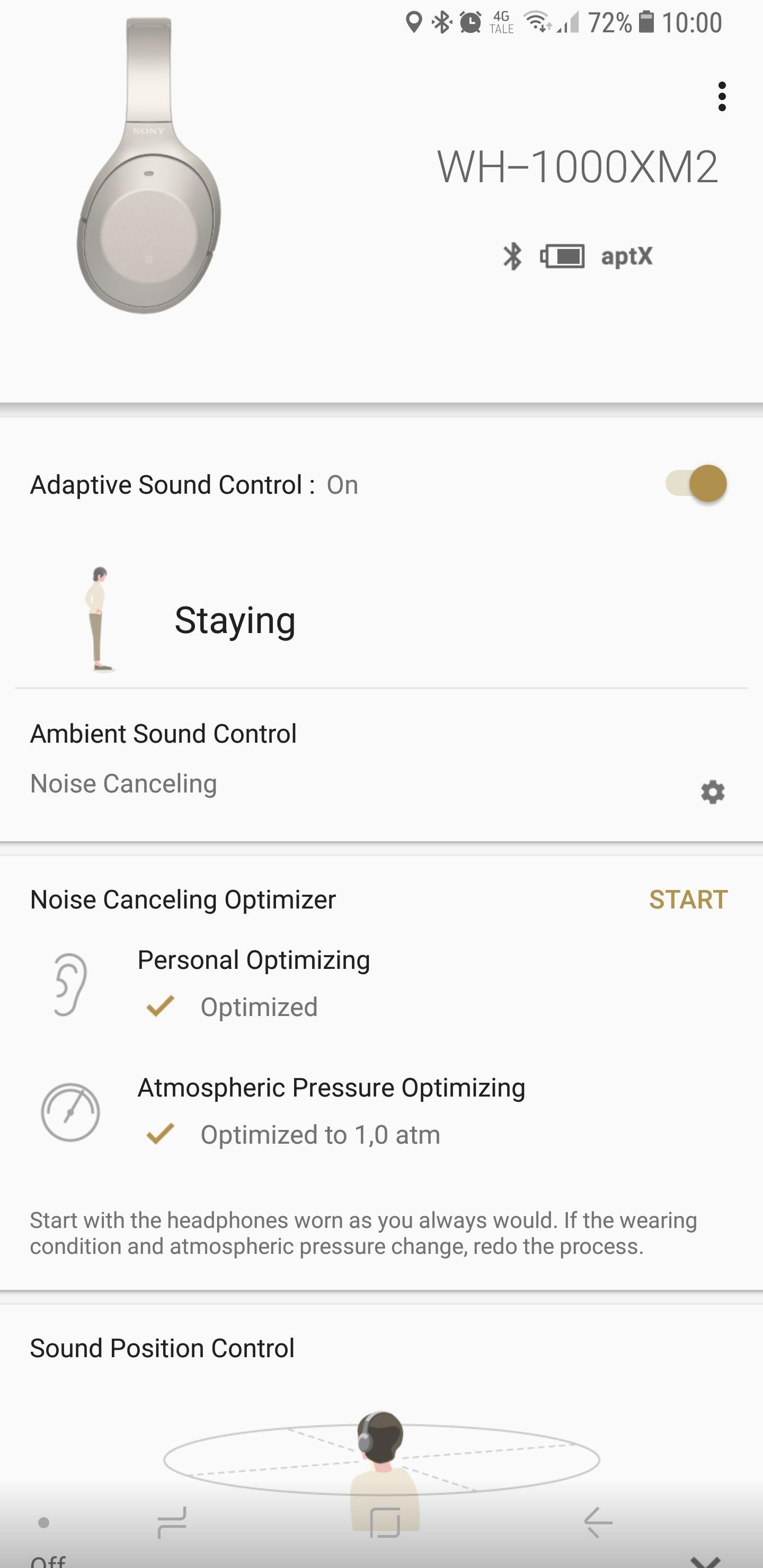 Appen er den samme som de andre nye 1000X-modellene. Her kan du blant annet aktivere den automatiske funksjonen.