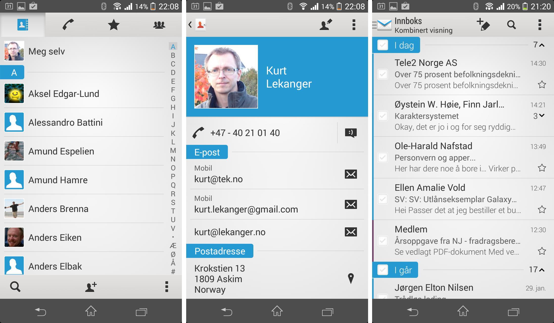 Kontaktregisteret (de to skjermbildene til venstre) og e-postleseren (til høyre).