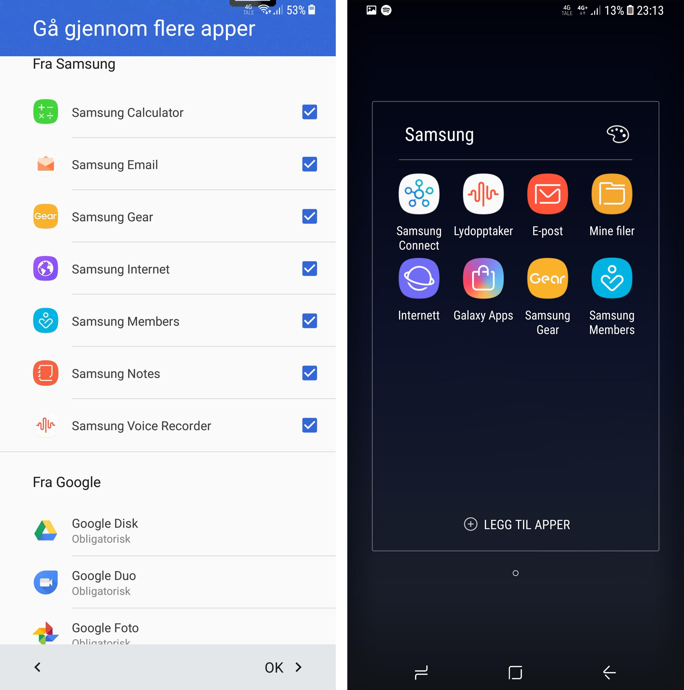 Under første oppstart får du velge hvilke av Samsungs ekstraapper du trenger. Dermed blir det noen færre unødvendige apper å trekke rundt på. Positivt for deg som ikke liker for mye skrot i menyene.