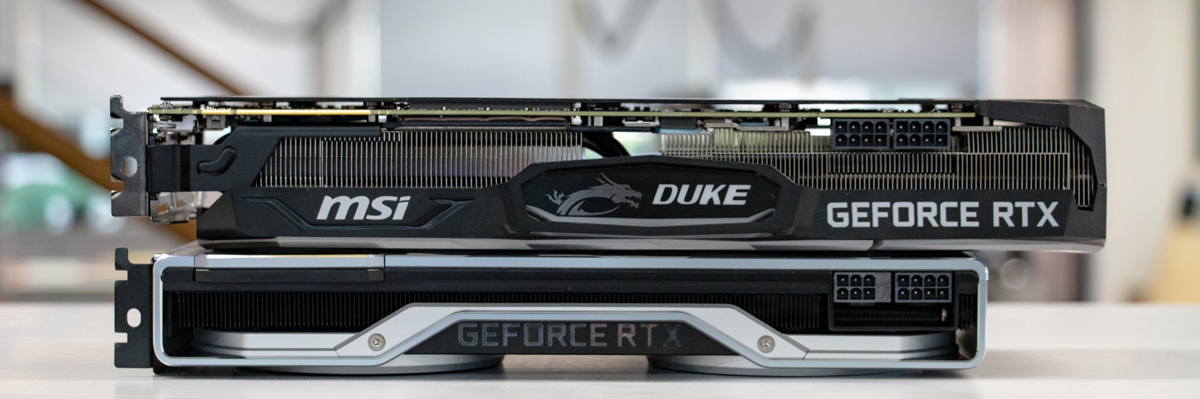 Duke OC er feit for en grunn. Kortet tilbyr overlegen kjøling og lasttemperatur over Nvidias Fe-kort.