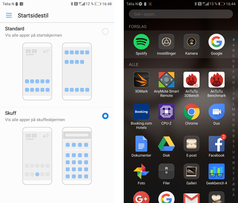 Huawei-telefoner pleide å samle alle appene på hjemmeskjermene, men nå kan du velge å ha appskuff bak hjemmeskjermene dine, slik som på Android-telefoner flest.