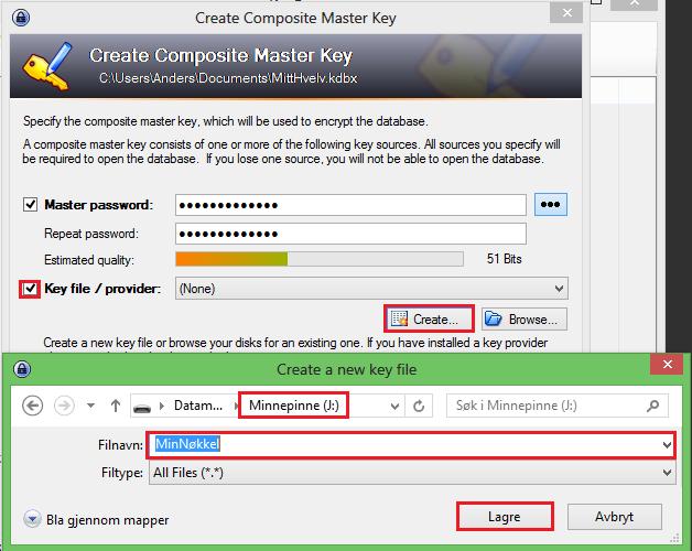 Beskytt passordene dine med et hovedpassord og en nøkkelfil.