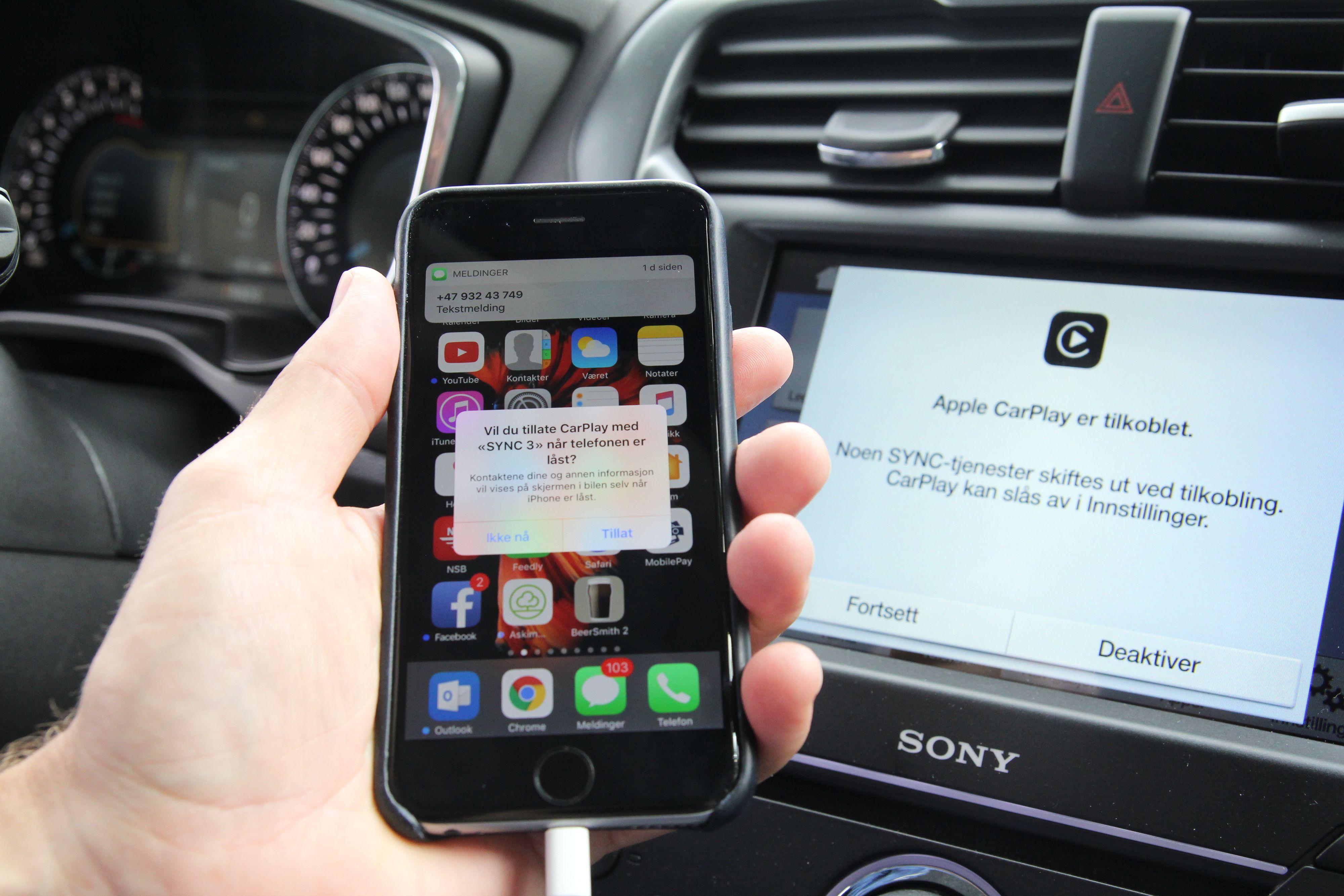Apple CarPlay koblet opp mot Sync3 i en Ford Mondeo.