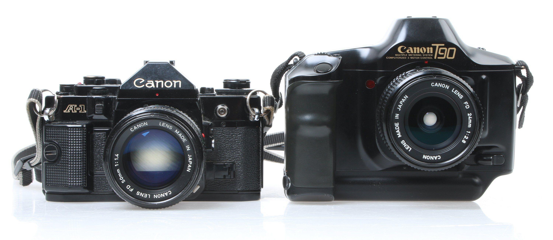 Canon A-1 fra 1978 og T90 fra 1986. Foto: Vegar Jansen, Tek.no