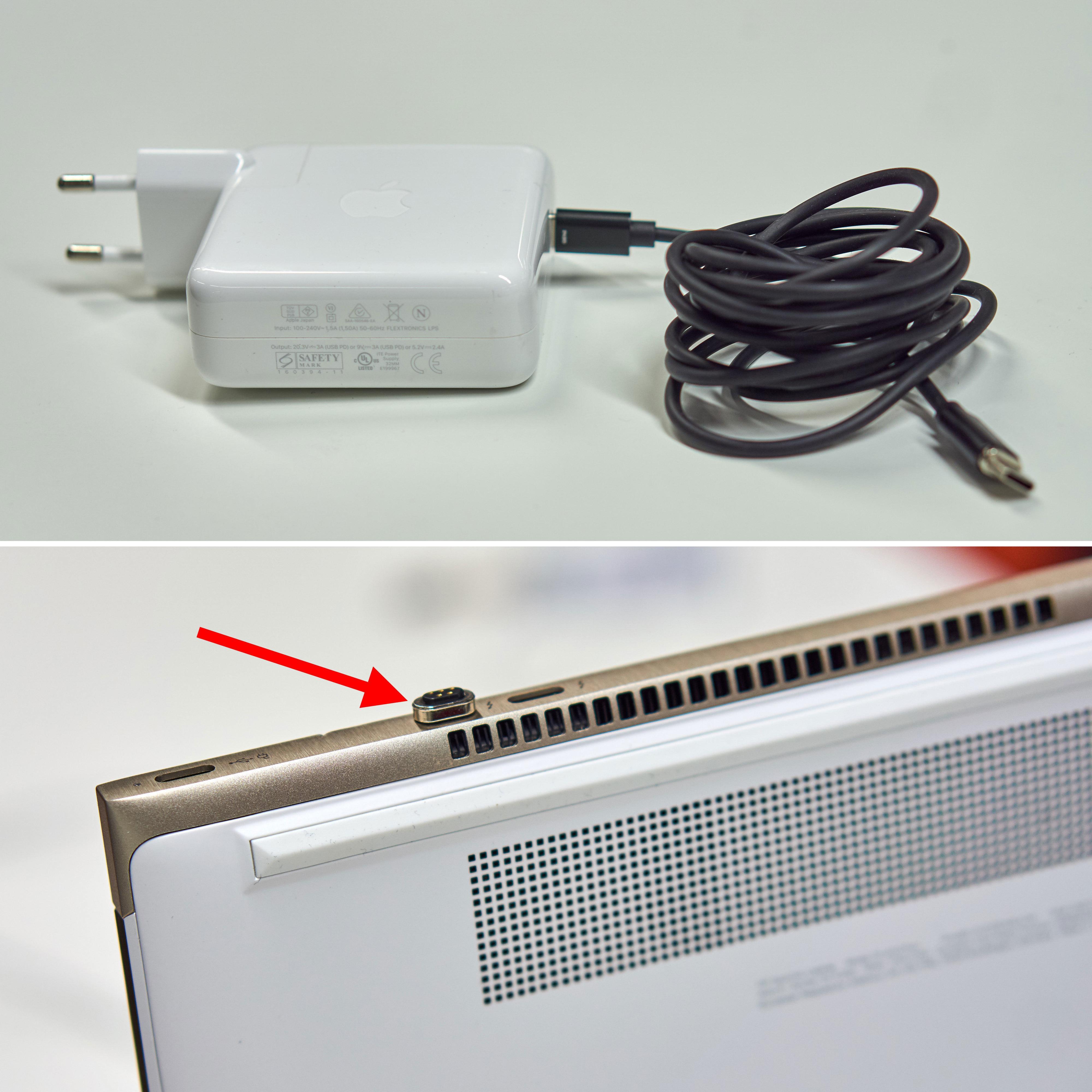 Du må ha en Apple-lader eller kjøpe Bolt-adapteren for å benytte løsningen. UNDER: tuppen bygger noe ut fra Spectre 13 sitt chassis.