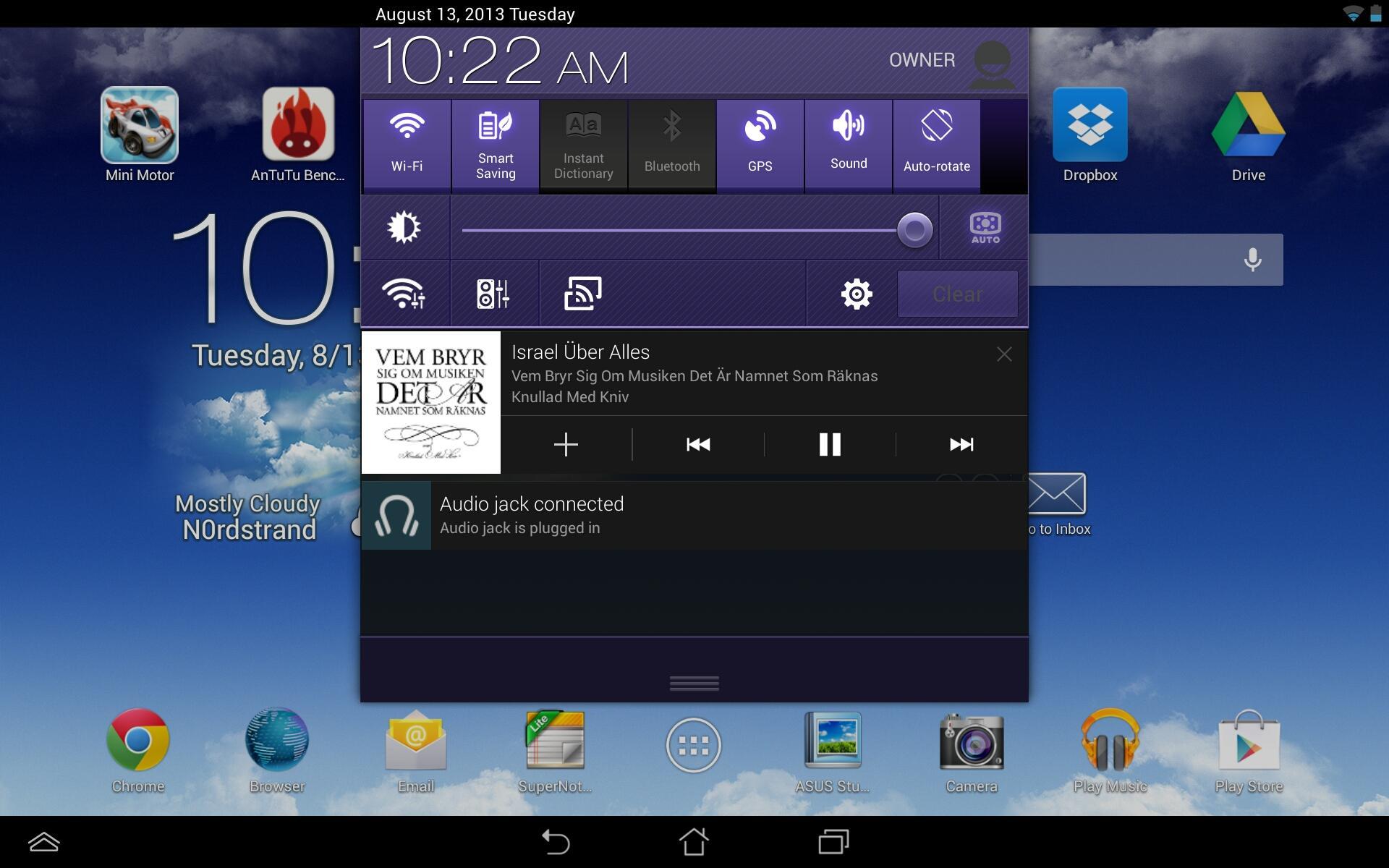 Nedtrekksmenyen i Android OS 4.2.2.