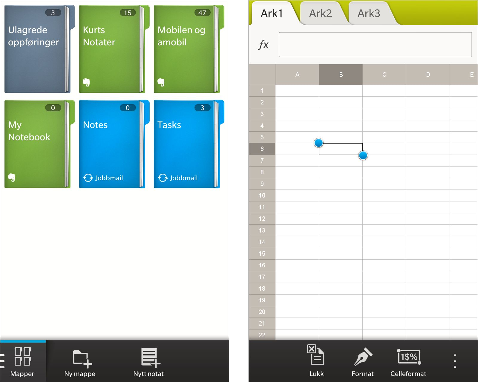 Remember-appen (til venstre) samler notater og oppgaver fra Exchange og Evernote. Med Docs to Go kan du åpne, redigere og opprette dokumenter i Microsofts Office-formater. Redigering av regneark fungerer rimelig smertefritt, så lenge det ikke er snakk om omfattende redigeringer.