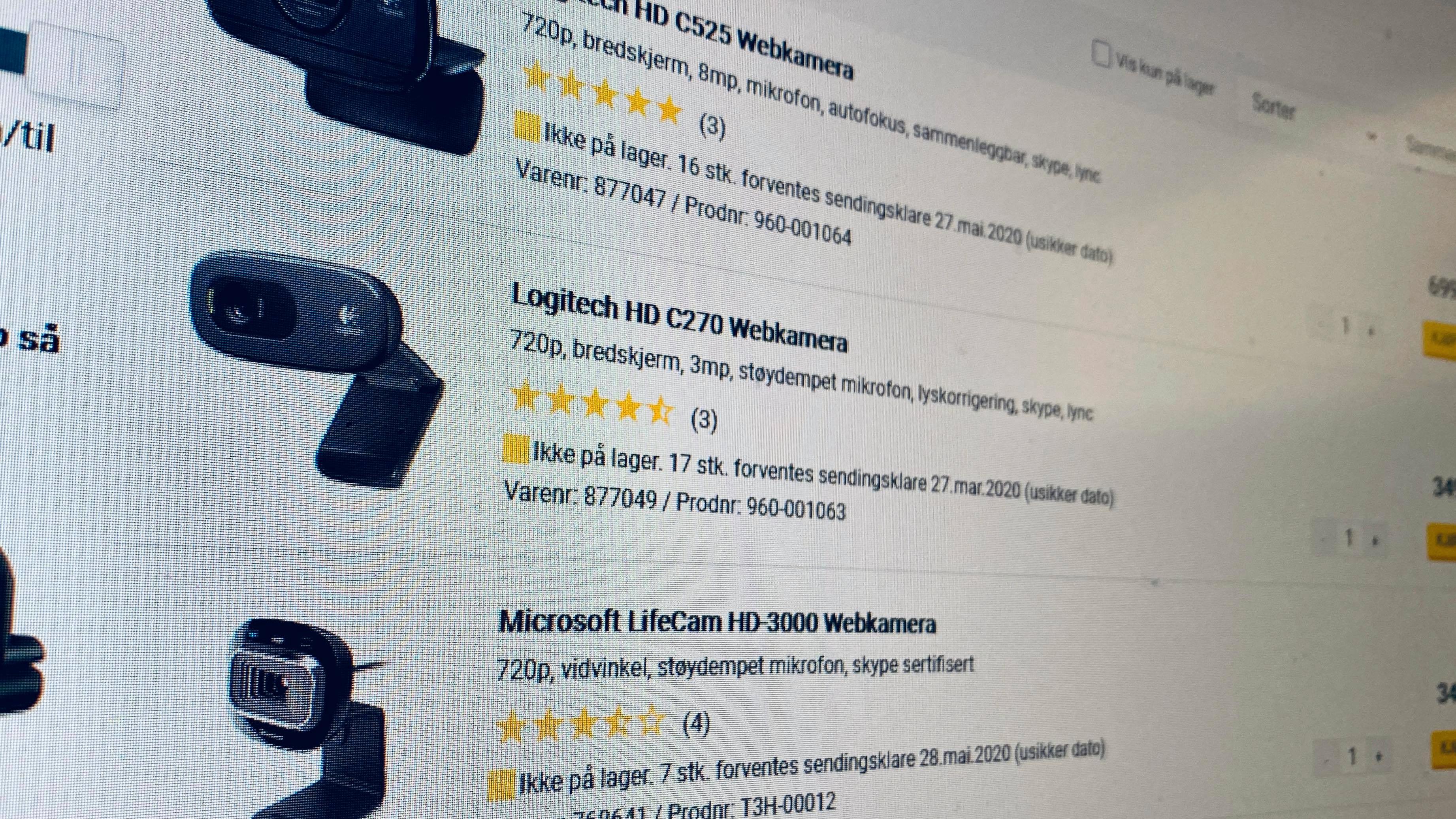 Webkamera økte med 1735 prosent i Prisjakt