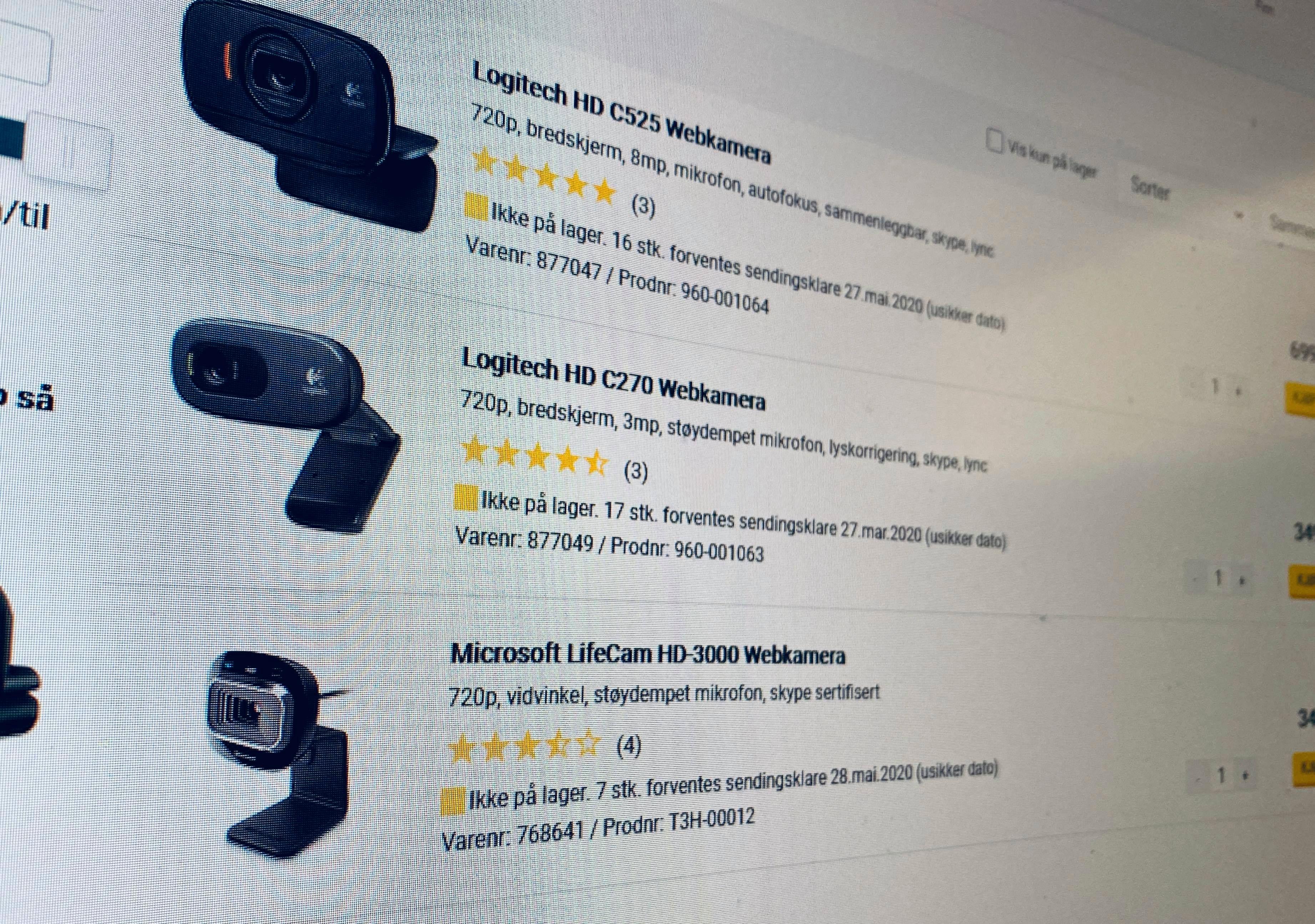 Her må vi vente på webkamera. De fleste steder må vi vente på webkamera. Prisjakt rapporterer at kategorien har hatt en økning på illsinte 1735 prosent i en liten periode nå i mars.