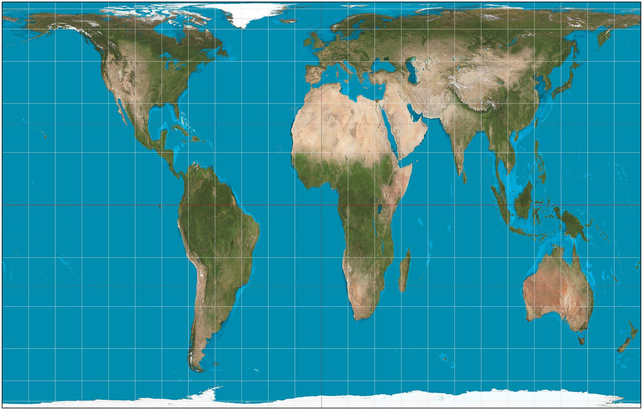Dette er et verdenskart der Afrika faktisk er omtrent 14,5 ganger større enn Grønland, slik også virkeligheten er. Områder nærme ekvator er imidlertid strukket i nord-sør-retning og områdene nærme polene er flattrykte. Foto: Wikipedia Commons