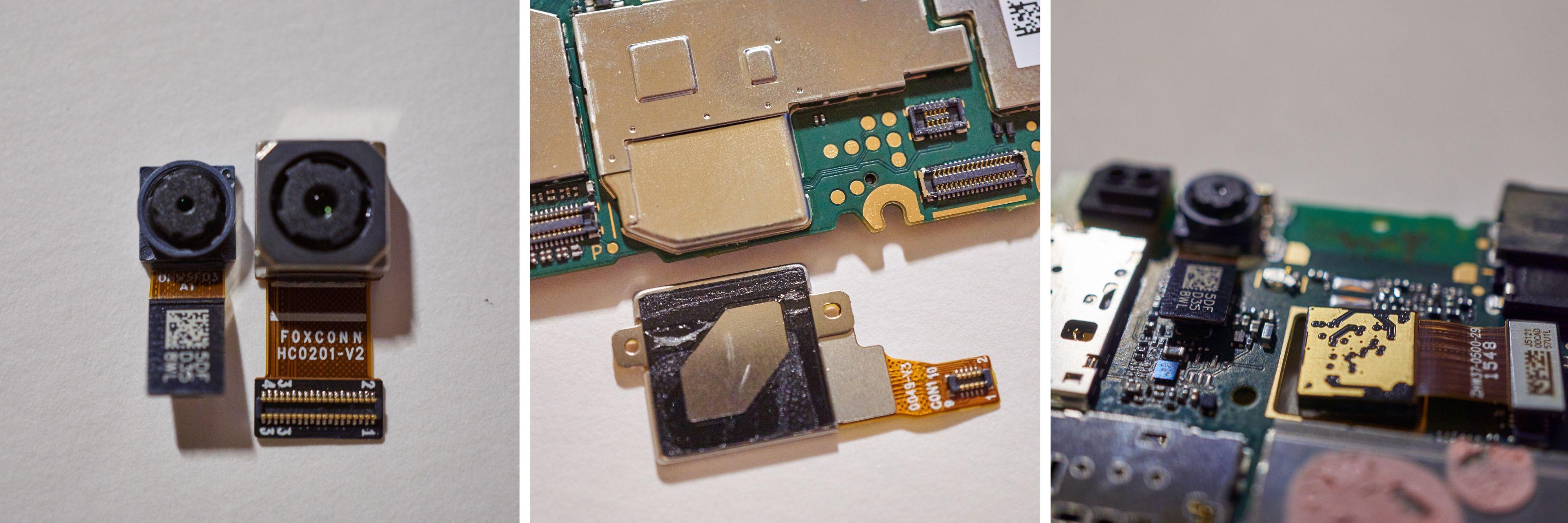 Fingeravtrykksleseren og de to kameraene kunne løsnes fra hovedkortet. Til høyre ser du den artige plasseringen til hovedkameraet.