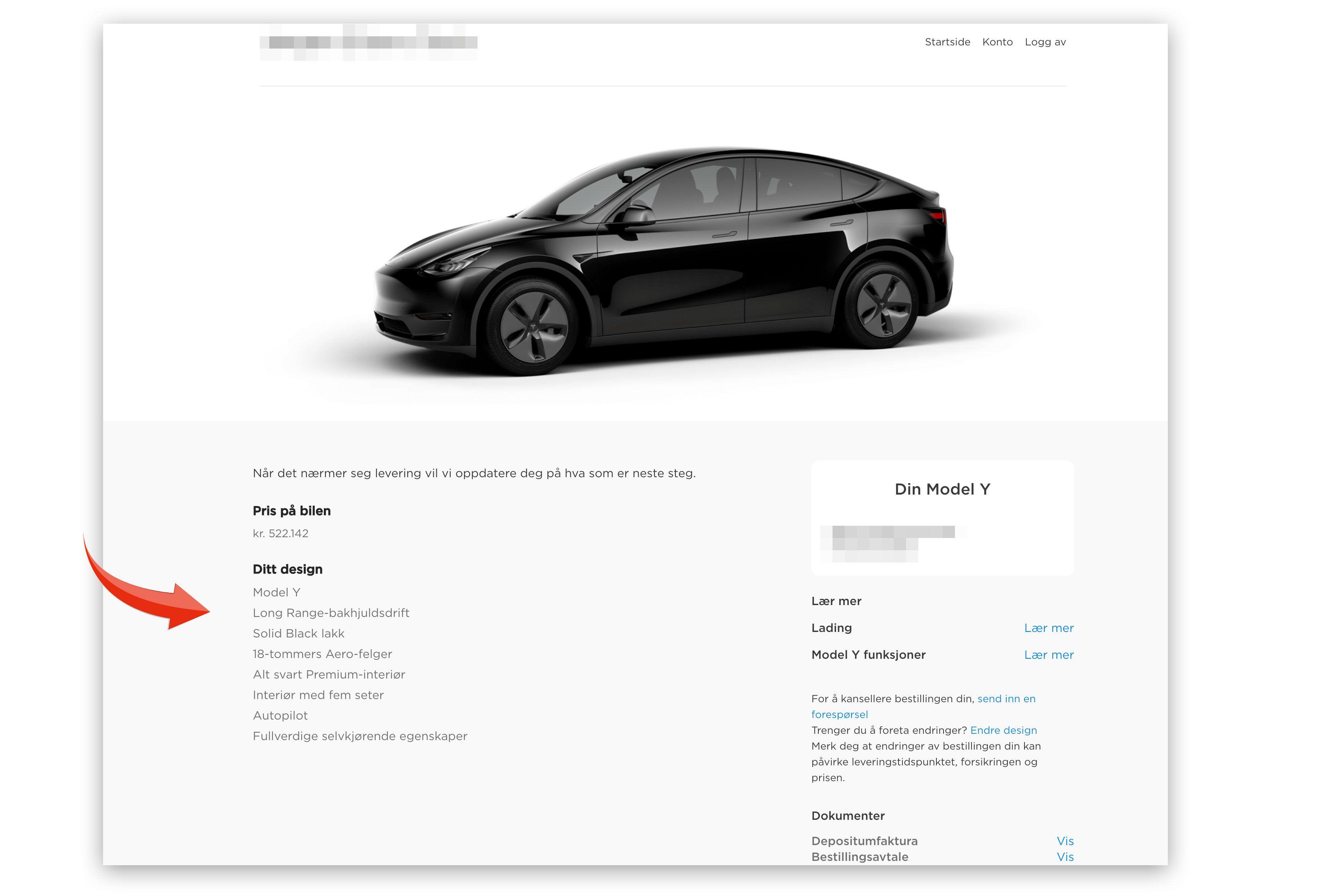 Slik ser bestillingsbekreftelsen ut til Tek.no-leseren for en Tesla Model Y, long range med bakhjulsdrift. Denne varianten ser nå ut til å være faset ut av Tesla, uten at de har gitt beskjed om det.