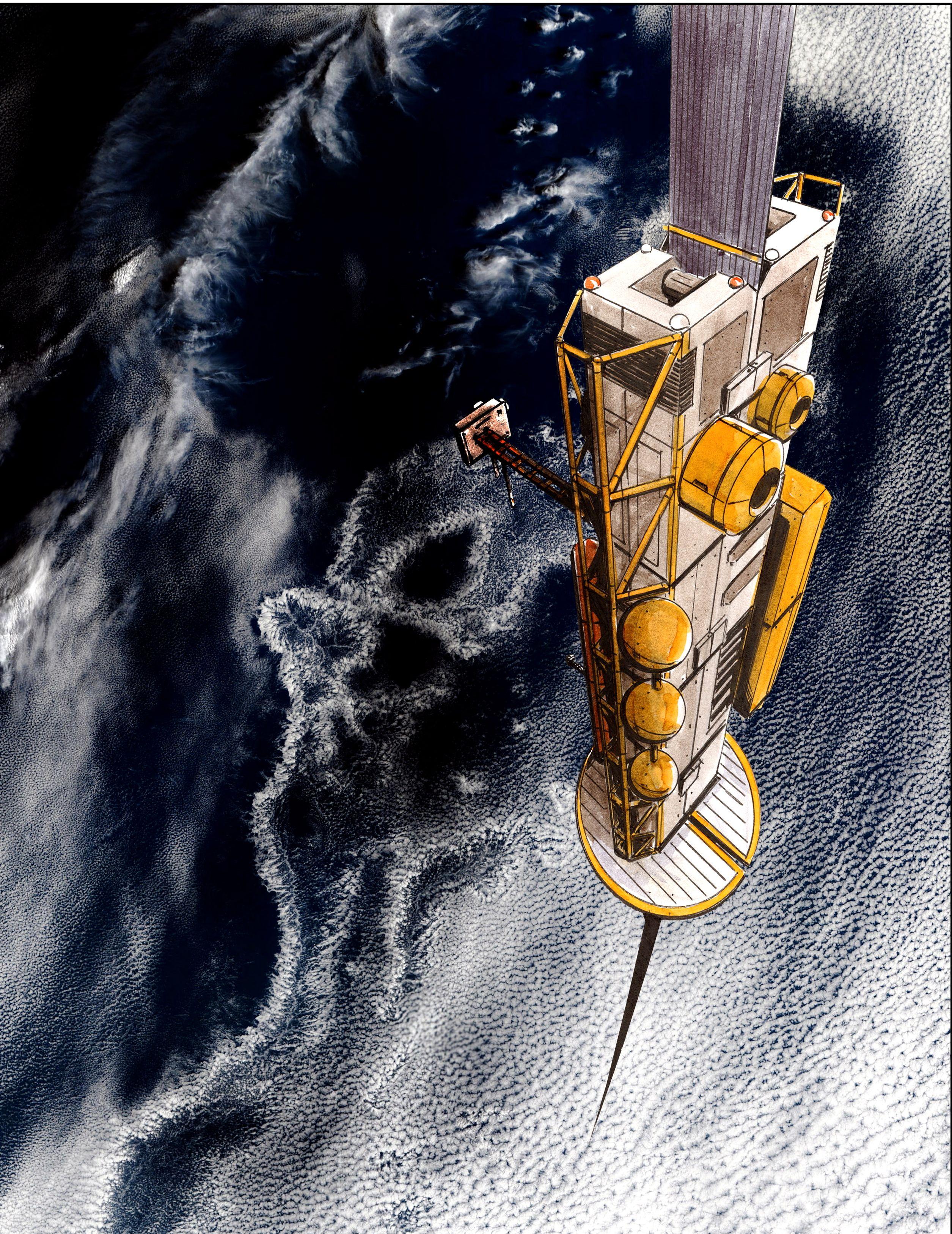 Konsepttegning av en romheis på vei opp fra jordens overflate.Foto: LiftPort