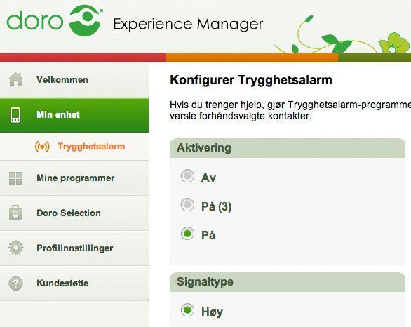 Doro Experience Manager lar deg sette opp telefonen via en nettleser.