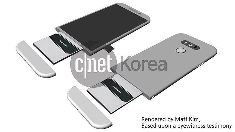 Denne konseptskissen viser hvordan batteriet på G5 skal kunne tas ut.