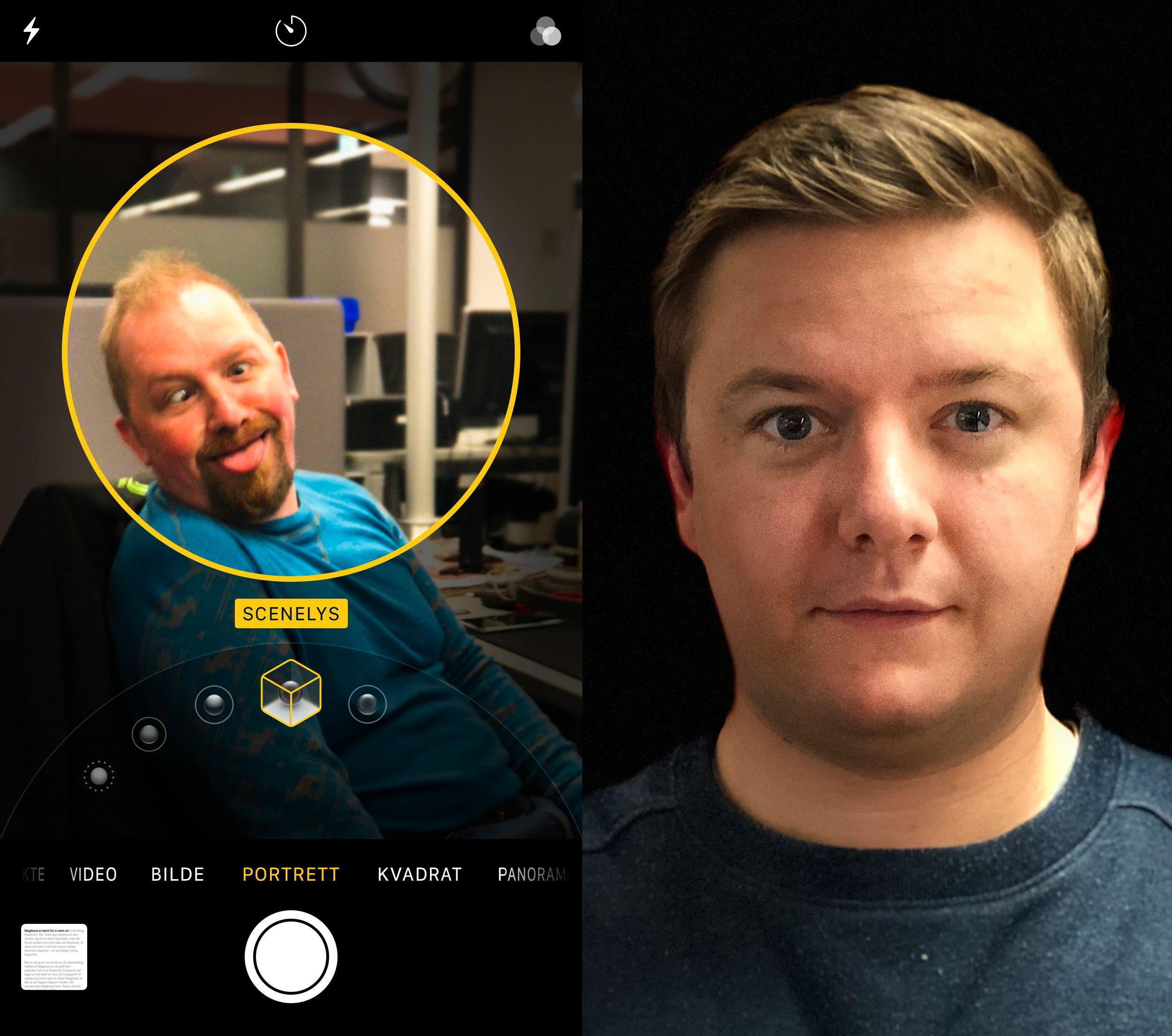 Hvis din lokale klovn mangler scene, og du har iPhone 8 Plus, eller X, kan iOS 11 diske opp. Resultatene blir omtrent som det du ser til høyre.