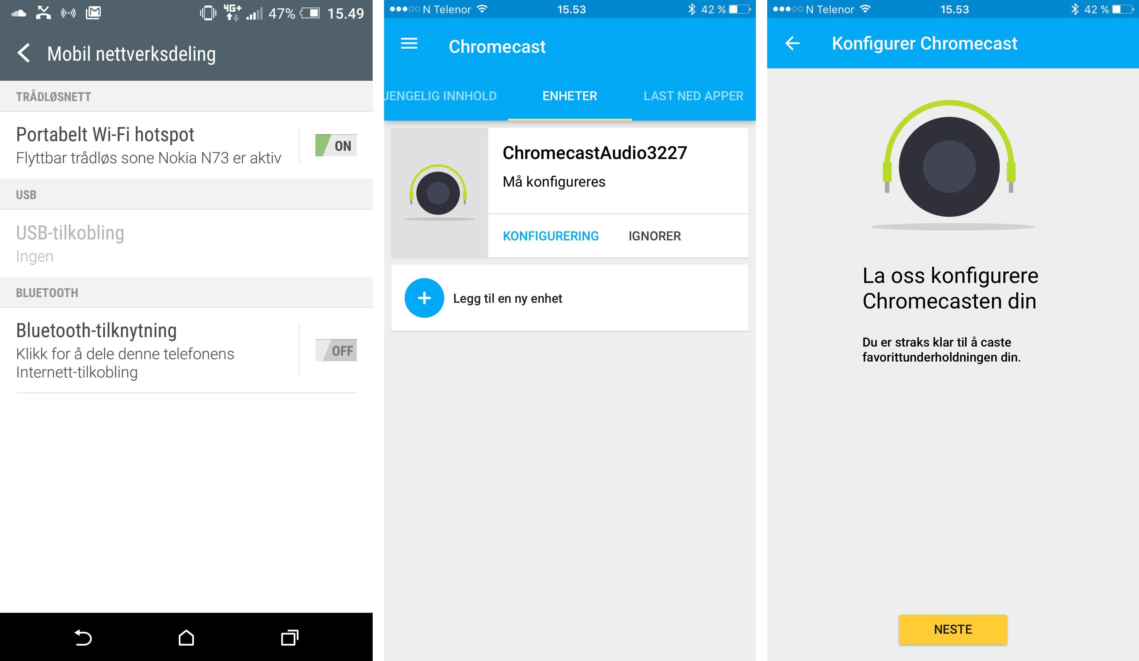 Det er optimalt å bruke en Android-telefon som hovedtelefon for dette prosjektet. Vi har valgt å sette innstillingene fra en iPhone. Det første du må gjøre er å aktivere trådløs nettverksdeling fra hovedtelefonen. Deretter kobler du telefon nummer to til nettverket som deles, og følger instruksjonene fra Chromecast-appen.