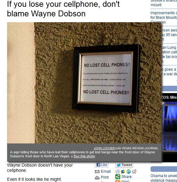 Slik ser ringeklokken til Wayne Dobson ut nå.Foto: (Faksimile, Las Vegas Review Journal)