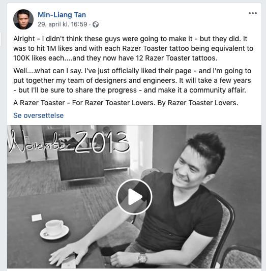 Her innser Razer-sjefen at han blir nødt til å sette ingeniørene sine til å lage en brødrister. (Klikk for større versjon).