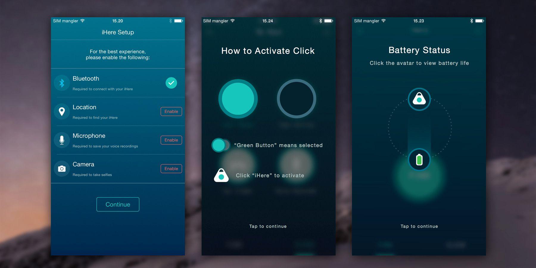 Når du starter opp iHere-appen får du grundige og lekre instruksjoner. Smart og godt gjennomtenkt, synes vi.