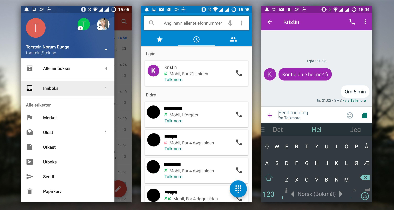 Gmail, ringe- og meldingsapp.