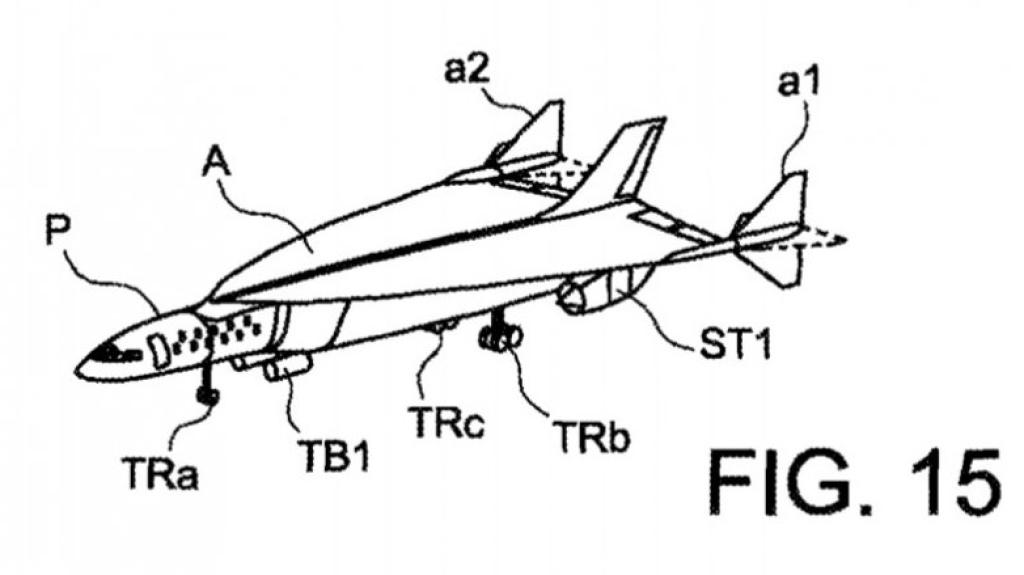 FRAMTIDSFLY: Concorde 2.0 slik Airbus skisserer flyet i patentsøknaden.