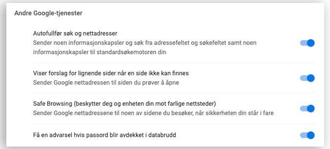 Nye innstillinger dukker opp i Chrome så fort du har oppdateringen installert.