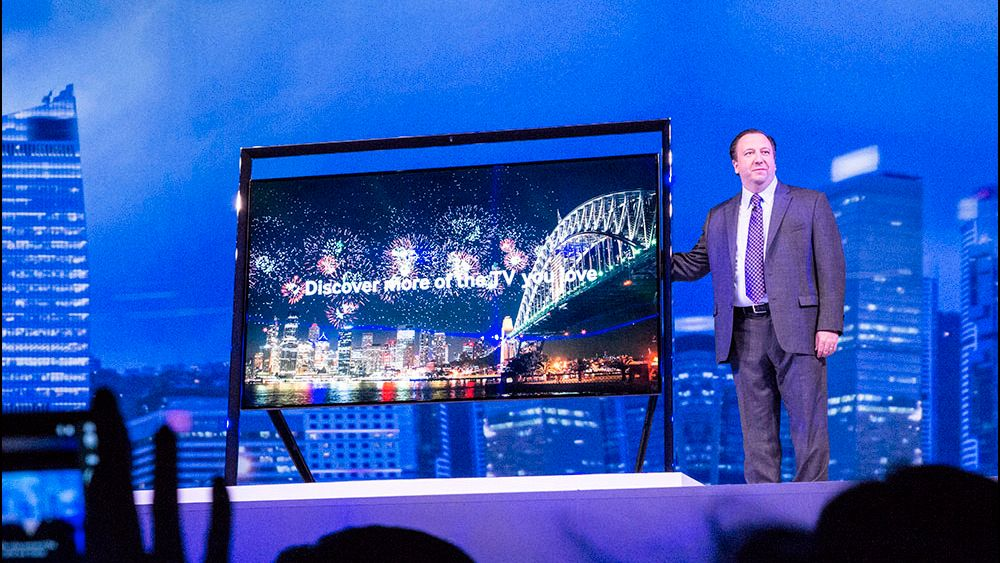 Samsung viste fram sin 85 tommer store 4KTV på CES-messen i Las Vegas i januar.Foto: Niklas Plikk, Hardware.no