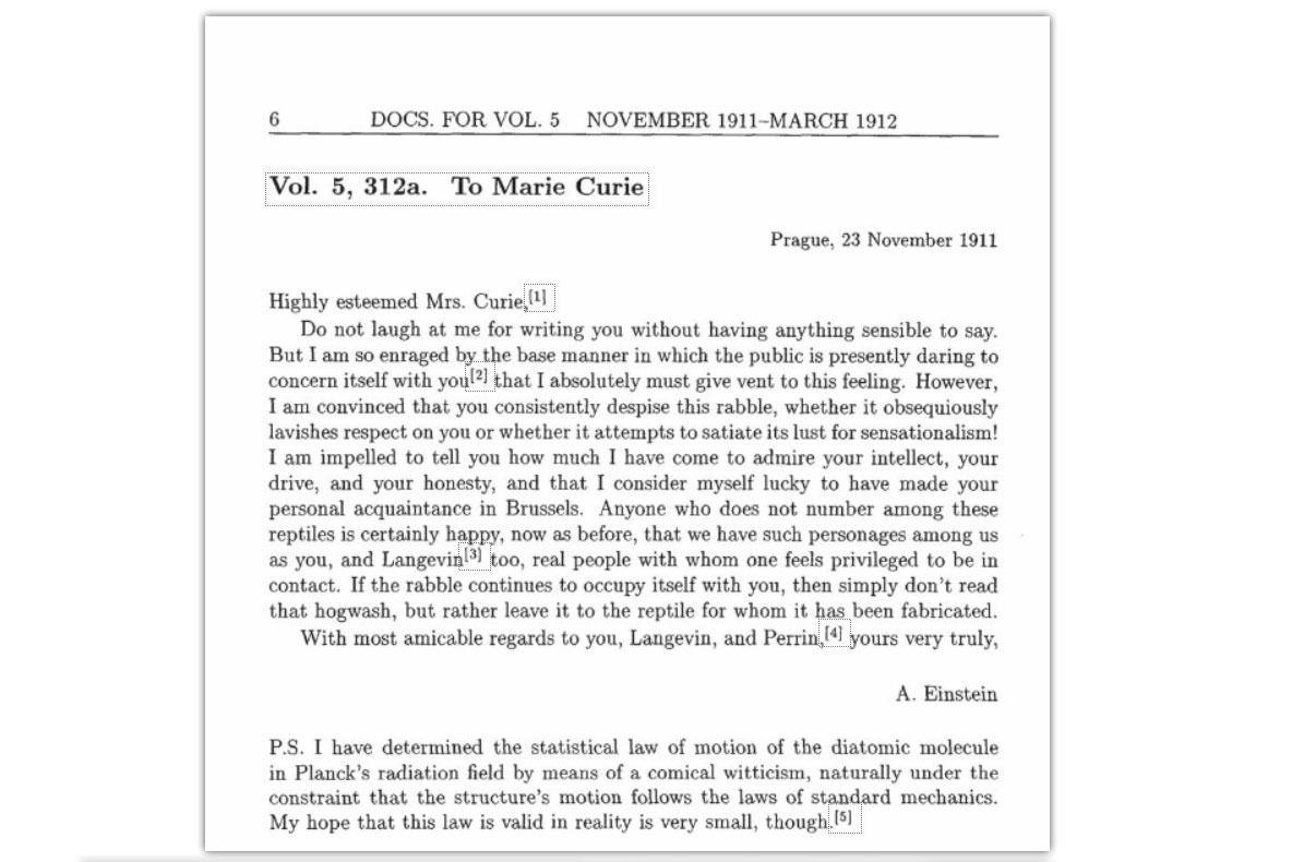 Her er brevet som Albert Einstein skrev til Marie Curie i 1911.Foto: http://einsteinpapers.press.princeton.edu